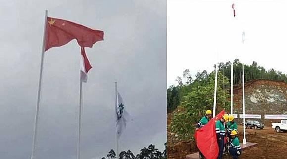 Penurunan bendera Tiongkok di Pulau Obi, Halmahera Selatan, Maluku Utara, Jumat (25/11/2016). (Liputan6.com/Hairil Hiar)